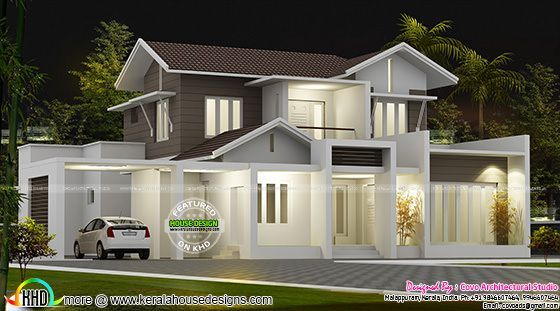 Beautiful 2100 Sq Ft Modern Sloping Roof Home Kerala House Design House Layout Plans Unique House Design