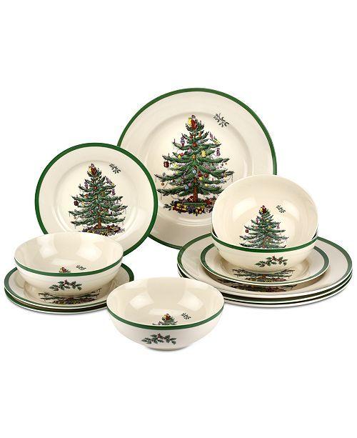 Spode Christmas Tree 12 Pc Dinnerware Set Created For Macy S Reviews Fine China Macy S Christmas Dinnerware Spode Christmas Tree Spode Christmas
