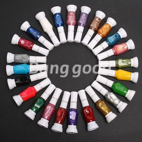 24 Colors Mix Colors Pure Glitter 2 Way Varnish Nail Art Tips Brush Pen Polish