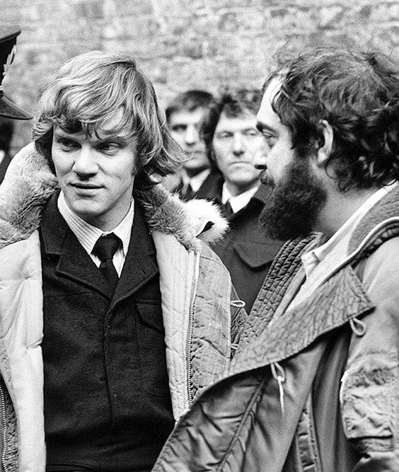"""Malcolm McDowell and Stanley Kubrick on the set of """"A Clockwork Orange"""" 1971"""