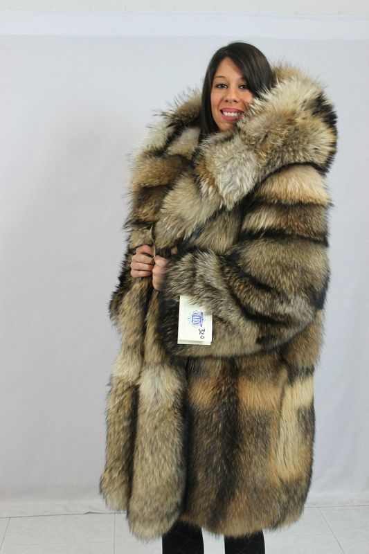 Huge Hooded Finnish Raccoon Fur Coat | fur hoods | Pinterest