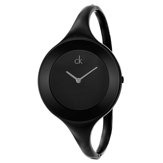 Sleek and feminine, this Calvin Klein watch features a huge black dial and a convenient jewelry clasp. This trendy, durable stainless steel watch doubles as a bangle bracelet for ultimate style.