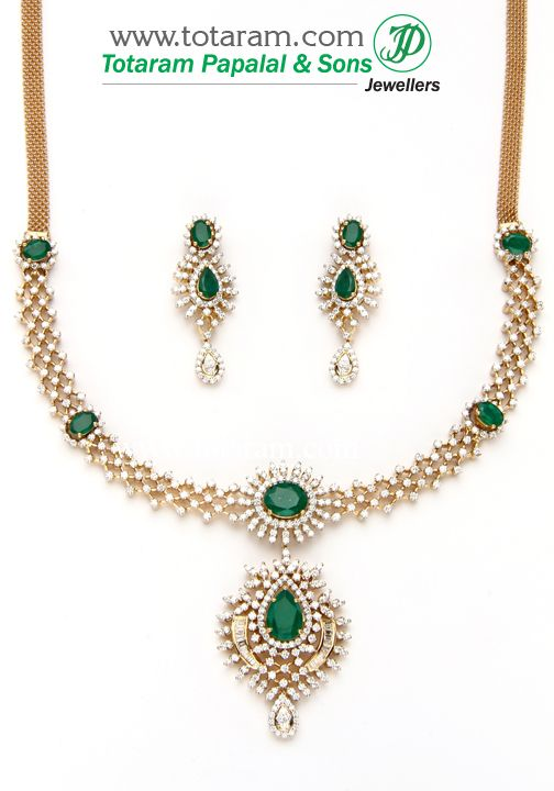 Totaram Jewelers: Buy 22 karat Gold jewelry & Diamond jewellery from India: 18K Gold Diamond Necklace & Earrings Set with Ruby & Onyx