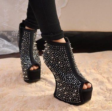 cool punk spike platform wedge high heel less curved open toe