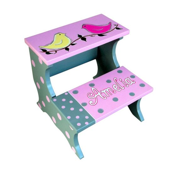 Children's Custom Handcrafted Step Stool by SassyFrassStudio, $54.99