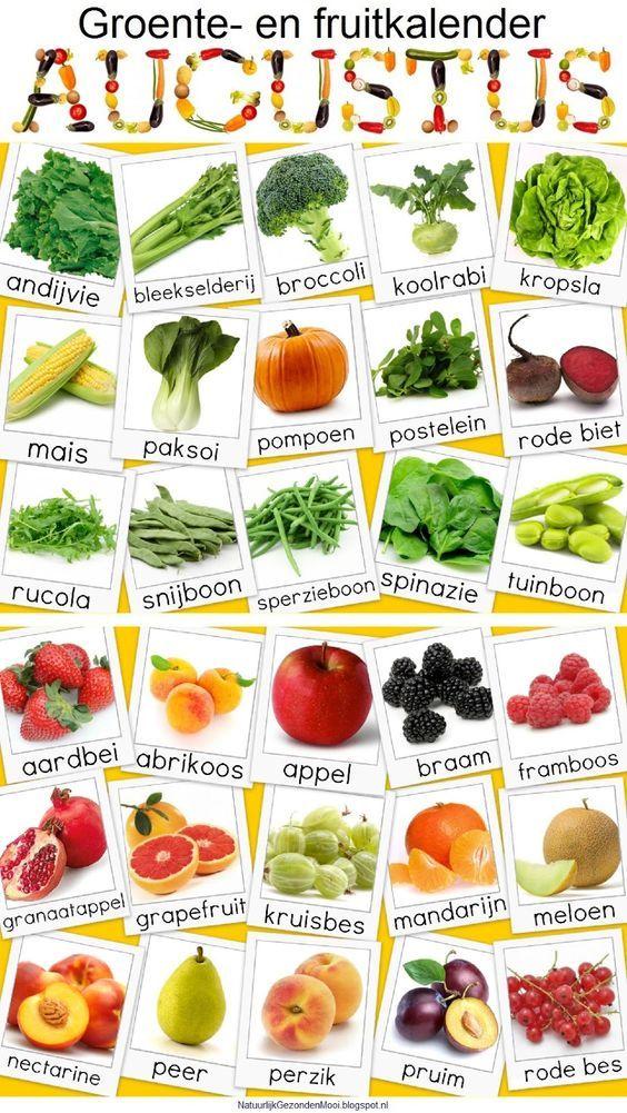 Groente en Fruit Kalander voor Augustus