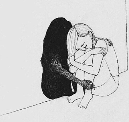 art, depressed, depression, drawing, hugging