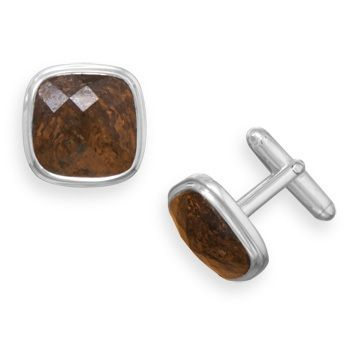 Soft square sterling silver cuff links with faceted bronzite stone. The cuff links are approximately 10mm square