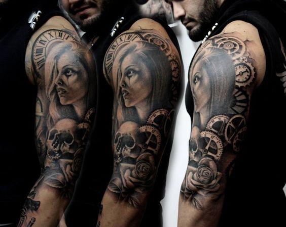 tattoo frau uhr skull biomechanik tattoo pinterest arm tattoo tattoos und totenk pfe. Black Bedroom Furniture Sets. Home Design Ideas