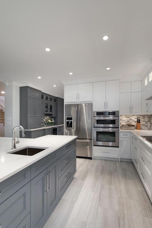 Modern White Gray Kitchen Bright Modern Gray White Kitchen Gray Cabinets White Cabinet Grey Kitchen Floor Grey Kitchen Designs Gray And White Kitchen