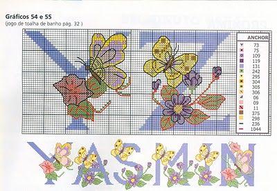 Carlinha Ponto Cruz: Monograma com borboletas e flores