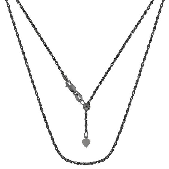 Sterling Silver Black Ruthenium Plated 22 Inches Sliding Adjustable Rope Chain - Width 1.5mm