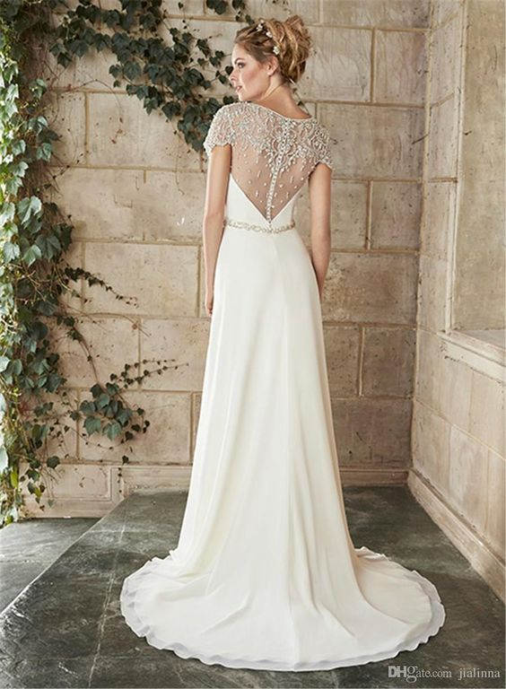 Vintage Beading Sheath Wedding Dresses With Cap Sleeves 2015 Fashion Sheer Jewel Neck Top Crystal Sash Court Train Garden Bridal Gown from Jialinna,$208.38 | DHgate.com