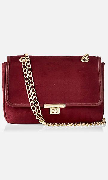 faux suede chain strap shoulder bag