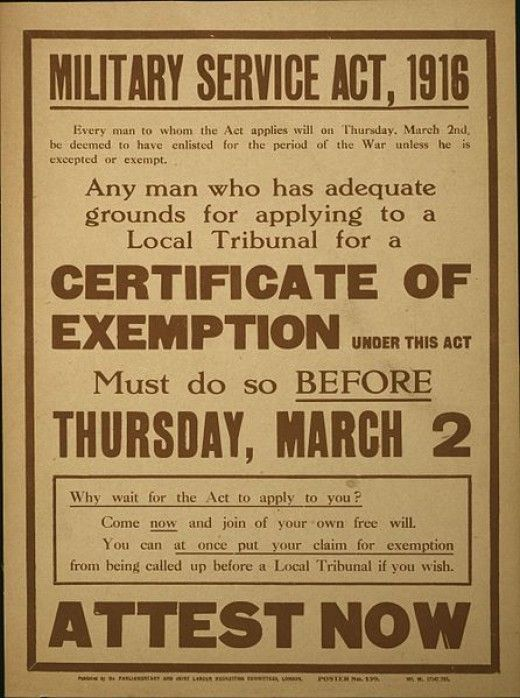 Conscription poster urging men to apply early if they had grounds for exemption
