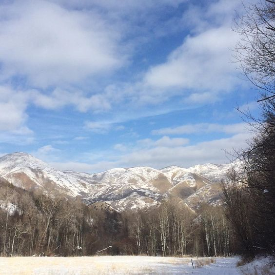 Blue sky white peaks