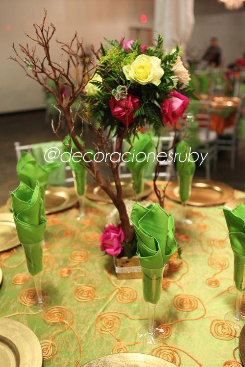 Tema tinkerbell evento quincea era colores rosa fuschia for Decoracion naranja