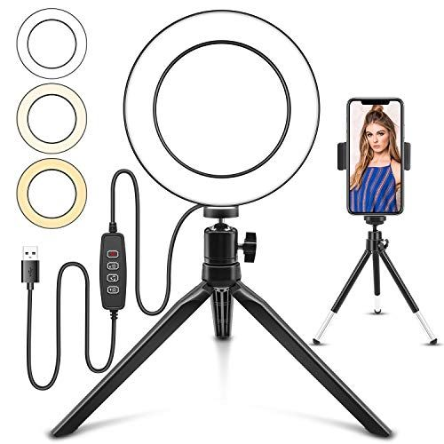 Led Ring Light 6 With Tripod Stand And Cell Phone Holder For Live Stream Youtube Video Or Makeup Desktop Led Camer In 2020 Selfie Ring Light Led Ring Light Led Ring