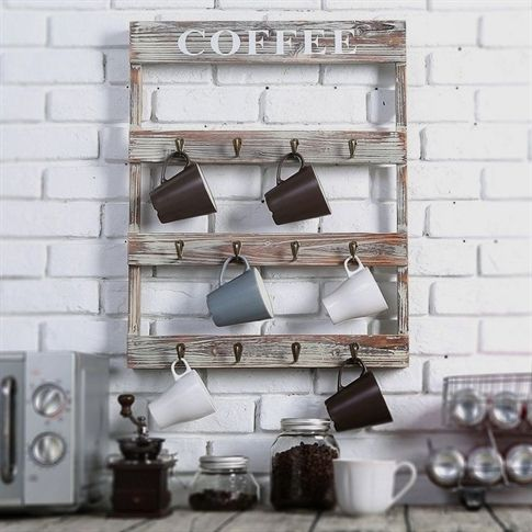Wall Mount Coffee Mug Tea Cup Rack Holder Storage Kitchen Country Rustic Wood Country Rustic Wooden C Coffee Mug Display Coffee Mug Holder Kitchen Wall Storage