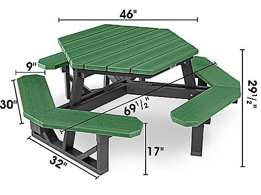 Hex Recycled Plastic Picnic Table 46 Green H 2560g Uline