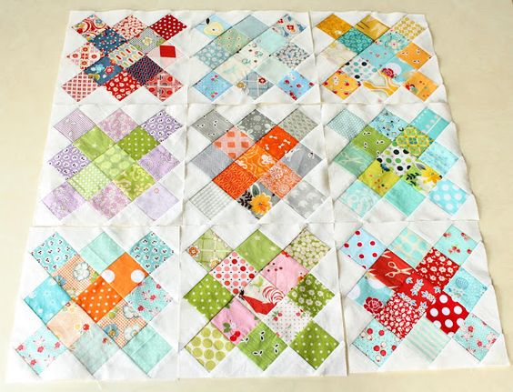 I do believe that I just found the idea for my feedsack fabric scraps. I like the brights and the white.