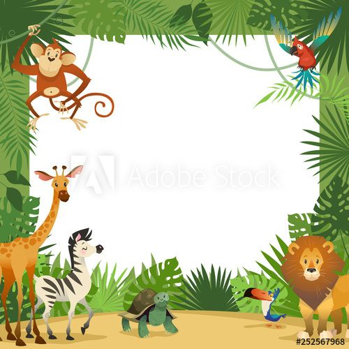 Jungle Animals Card Frame Animal Tropical Leaves Greeting Baby Banner Zoo Border Template Party Children In 2021 Animal Cards Jungle Animals Animal Clipart