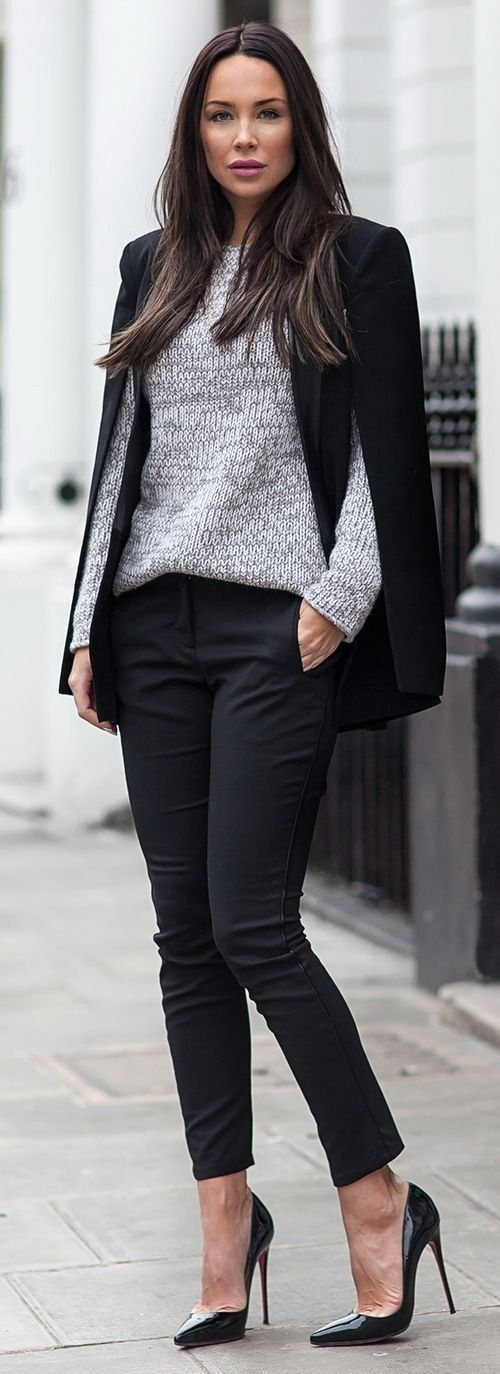 Black pants black blazer grey sweater pumps