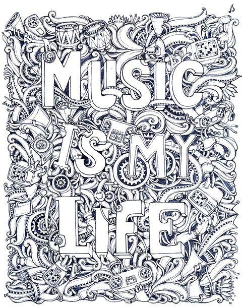 Ausmalen Erwachsene Musik
