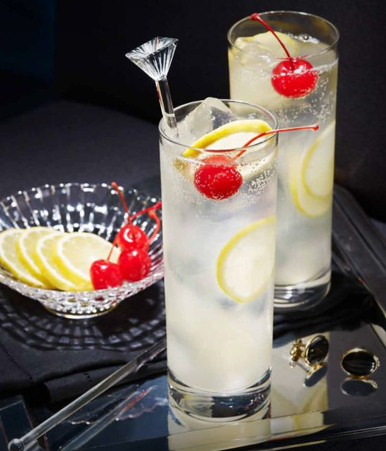 The Tom Collins. Tall, bold and a little mischievous, this gin drink is mixed with a refreshing kick of lemon juice