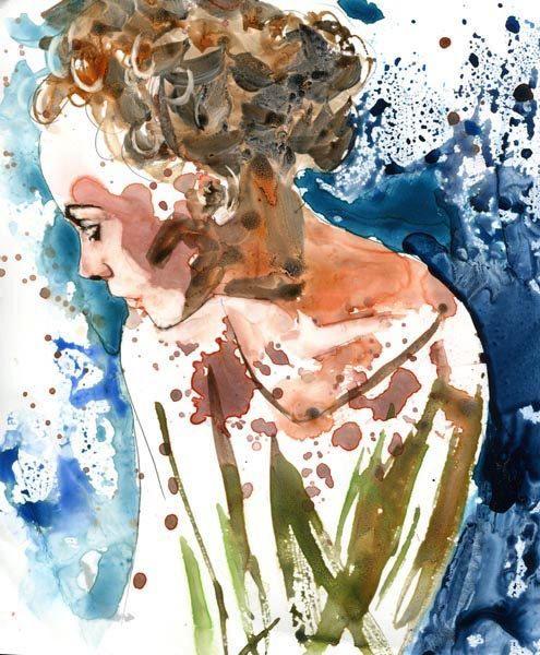 Items similar to Original Watercolor Painting Woman Figurative Portrait on Etsy. , via Etsy.