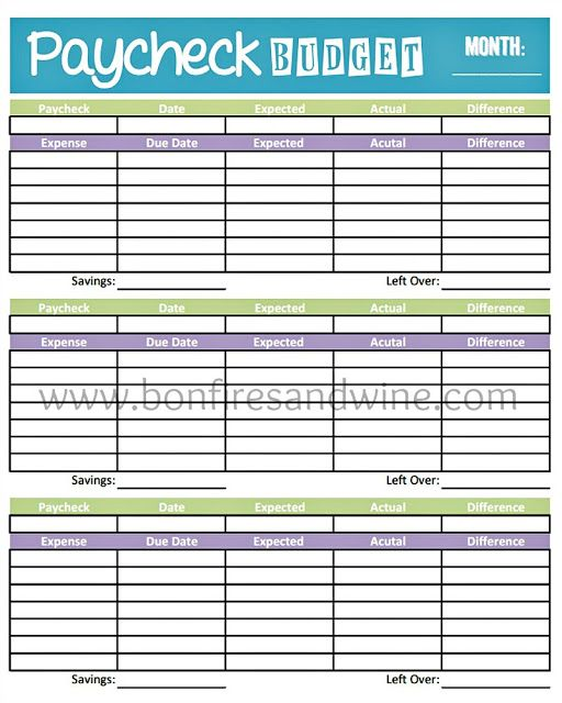 Livin' Paycheck to Paycheck - Free Printable Budget Form ...