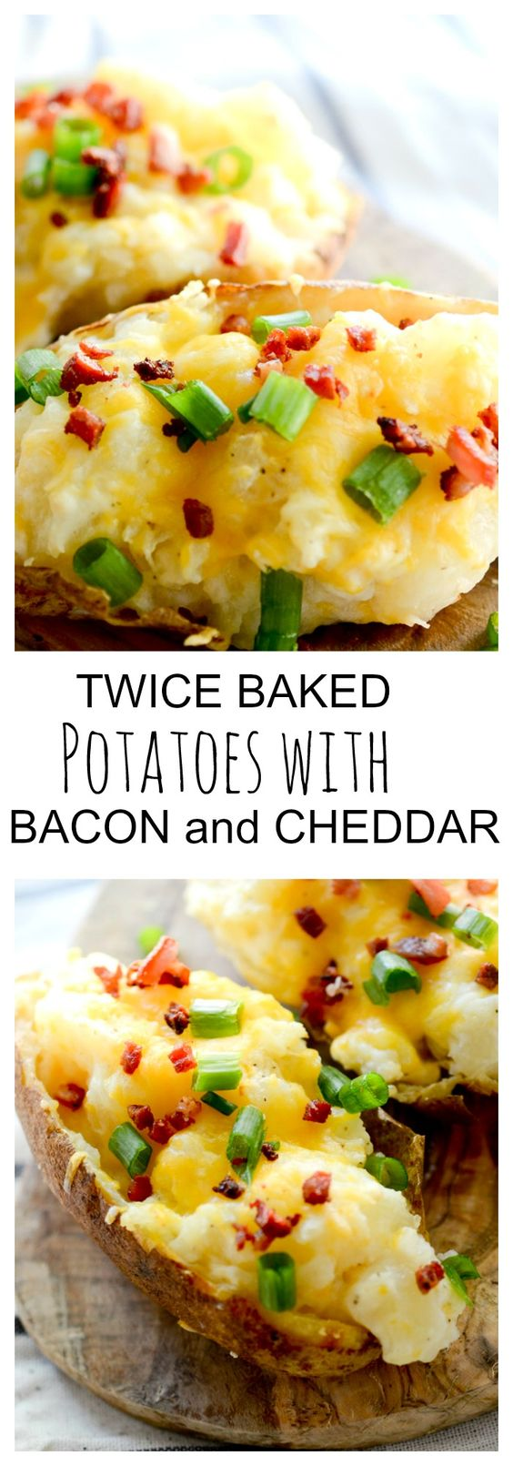 Twice baked potatoes, Baked potatoes and Cheddar on Pinterest