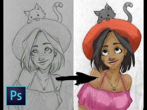 Coloring A Pencil Sketch Photoshop Tutorial Sketch Photoshop Photoshop Tutorial Photoshop Art