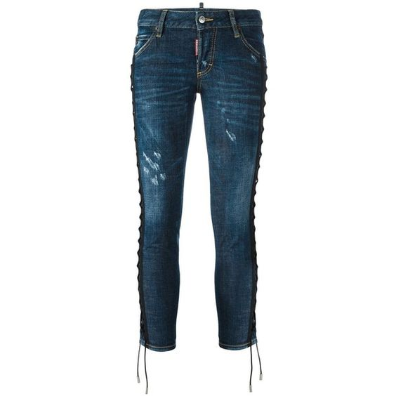 Dsquared2 'Deana' lace effect jeans (52.465 RUB) via Polyvore featuring jeans, blue, zipper jeans, lace jeans, torn jeans, destruction jeans и destructed jeans