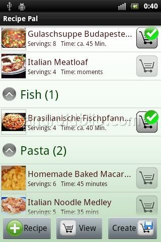 Recipe Pal is he ultimate application for all food lovers. Walking around in a grocery store and not knowing what ingredients to buy, those days are over. With this app you will be carrying your personal cookbook in your pocket. It enables you to download recipes, create shopping lists and plan your meals/menus.