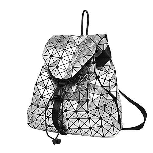 Fashion Shoulder Bag Rucksack PU Leather Women Girls Ladies Backpack Travel Bag Geometric Fake Lemon
