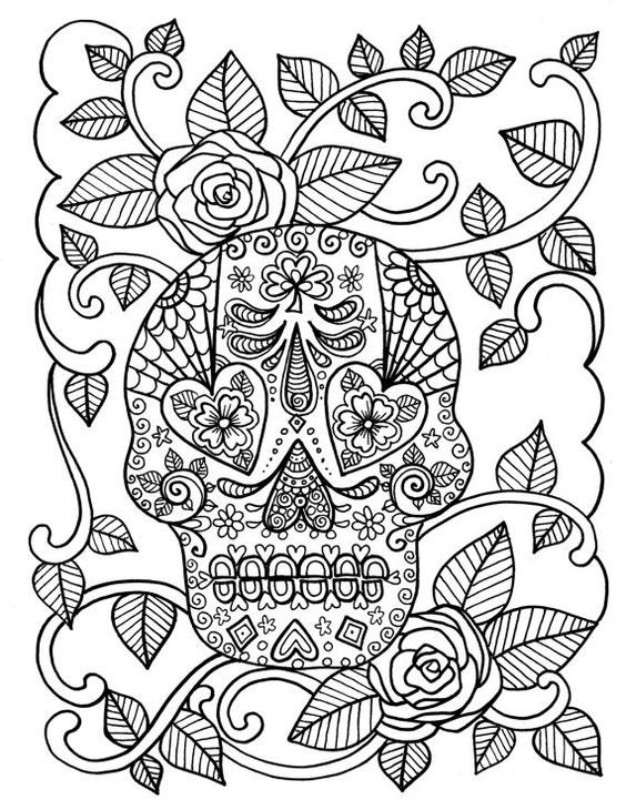COLORING BOOK Full Of SUGAR SkULLs Adult Day Of The Dead