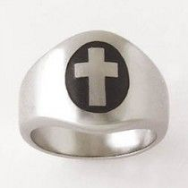 Oval cross Black Antiquing Mens Christian Ring Sterling Silver