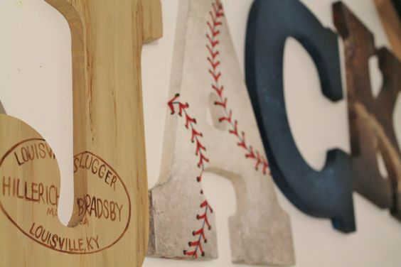 Vintage Varsity Sports Themed Hand Painted Personalized Wooden Letters for Nursery, Bedroom, or Party