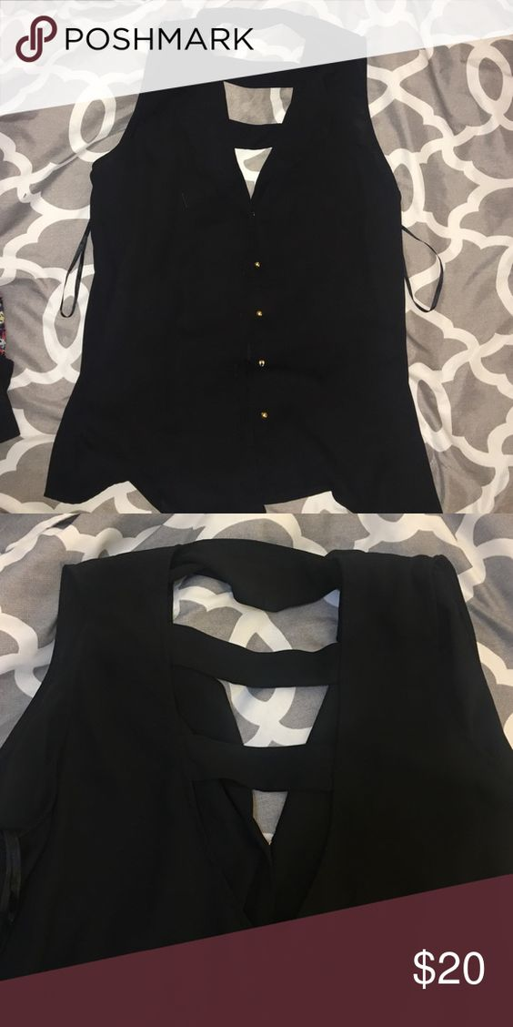 Black Sheer Blouse Black, Sheer, Sleeve less, Gold Buttons. Finesse Tops Blouses