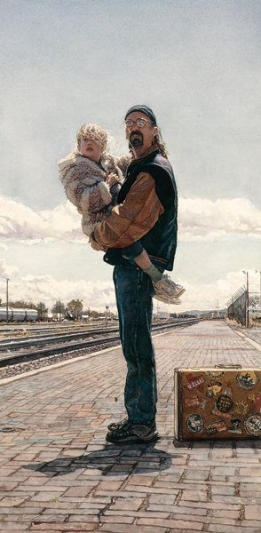 Traveling With Dad 2000, watercolor, 26¼ x 13 by Steve Hanks: Steve Hanks Art, Art Steve, Watercolor Artists Steve, Artist Hanks Steve, Artists Steve Hanks, Steve Hanks Paintings, Art Hanks, Oil Painting