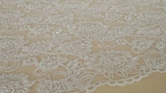 Snow white lace fabric pearl lace bridal lace by DelightfulWedding