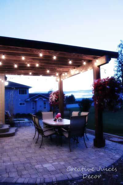 Can Outdoor String Lights Get Wet : My Tuscan Home Tour board - add string patio lights to the pergola or landscape. cobblestone ...