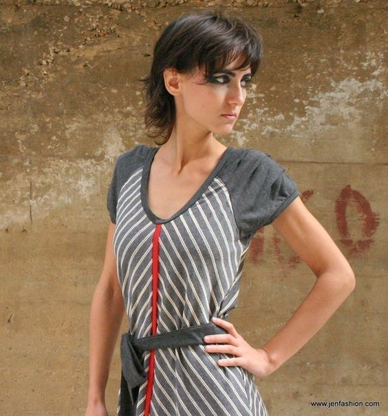 SALE 30 Red Line Cotton jersey dress by jenfashion on Etsy, $69.00