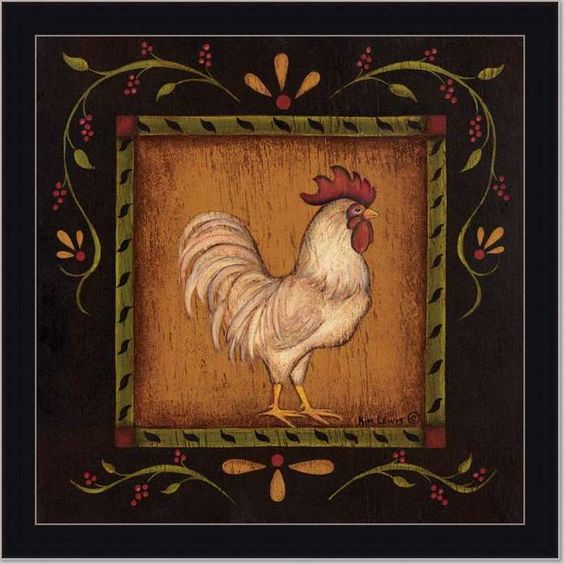 Rooster Kitchen Decor French Country: French Country Rooster I Primitive Folk Print Framed