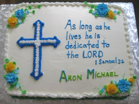 """Baby Dedication Cake - 11"""" x 15"""" sheet cake with cross made with confectioner's sugar frosting."""