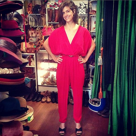 Patricia just found her birthday outfit for tonight! #vintage #happycustomer #cutecustomer #birthdayoutfit #pantsuit #red #1980s #rayon #jumpsuit #romper #butterfly #cloisonne #pollys #polly #echopark #eaglerock #elysianheights #atwater #silverlake #losfeliz #losangeles #highlandpark #hollywood #thriftshop #lemonfrogshop