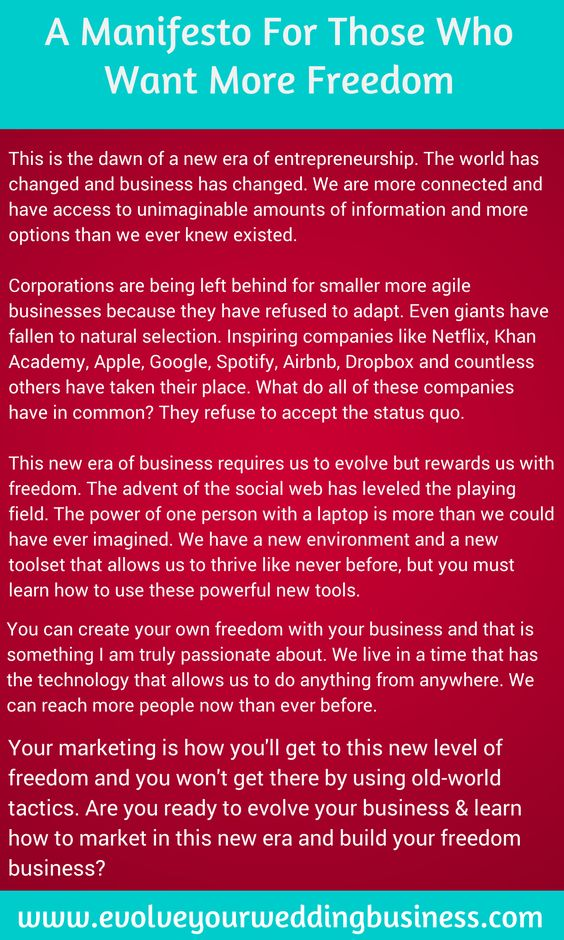 A Manifesto For Those Who Want More Freedom In Their Wedding Businesses. This is why I do what I do!