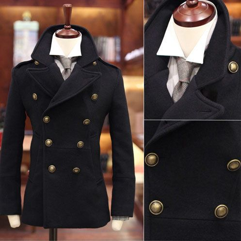 Black/Green/Camel Double Breasted Men's Pea Coat Stylish Military
