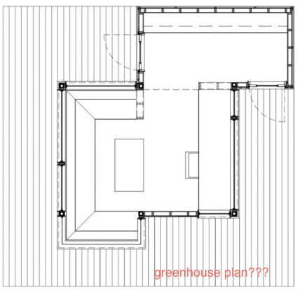 Potential plan for greenhouse / garden house / place to dream and read.